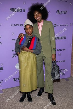 """Janicza Bravo, Jeremy O. Harris. Janicza Bravo, left, and Jeremy O. Harris attend the premiere of """"Zola"""" at the Eccles Theater during the 2020 Sundance Film Festival, in Park City, Utah"""