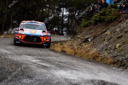 Sebastien Loeb of France drives his Hyundai i20 Coupe WRC during the Rally Monte Carlo 2020 as part of the World Rally Championship (WRC) near Gap, France, 24 January 2020.