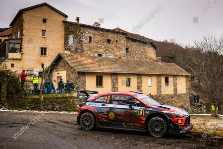 Stock Photo of Sebastien Loeb of France drives his Hyundai i20 Coupe WRC during the Rally Monte Carlo 2020 as part of the World Rally Championship (WRC) near Gap, France, 24 January 2020.