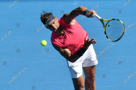1st seed RAFAEL NADAL (ESP) in action against 27th seed PABLO CARRENO BUSTA (ESP) on Rod Laver Arena in a Men's Singles 3rd round match on day 6 of the Australian Open in Melbourne, Australia