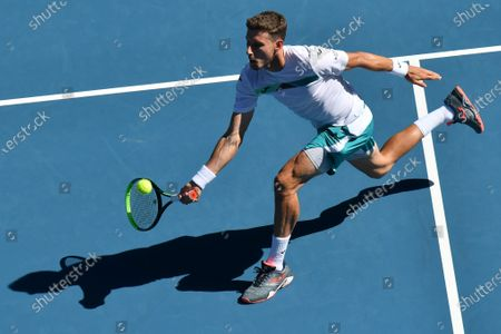 27th seed PABLO CARRENO BUSTA (ESP) in action against 1st seed RAFAEL NADAL (ESP) on Rod Laver Arena in a Men's Singles 3rd round match on day 6 of the Australian Open in Melbourne, Australia