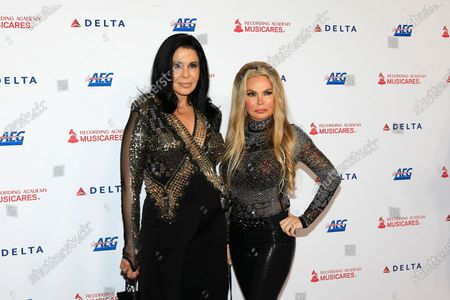 Maria Conchita Alonso and Susan Hughes arrive for the 2020 MusiCares Person of The Year gala at the Convention Center in Los Angeles, California, USA 24 January 2020. MusiCares Person of the Year Tribute honored US rock band Aerosmith for their extraordinary creative accomplishments and significant philanthropic efforts over five decades.