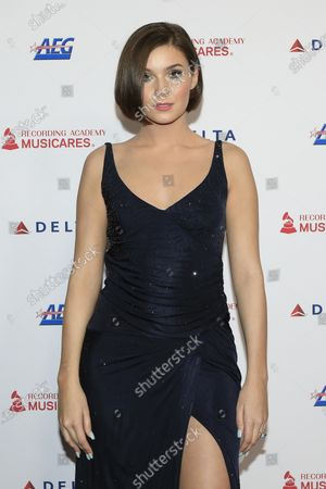 Stock Image of Nathalie Volk arrives for the 2020 MusiCares Person of The Year gala at the Convention Center in Los Angeles, California, USA 24 January 2020. MusiCares Person of the Year Tribute honored US rock band Aerosmith for their extraordinary creative accomplishments and significant philanthropic efforts over five decades.