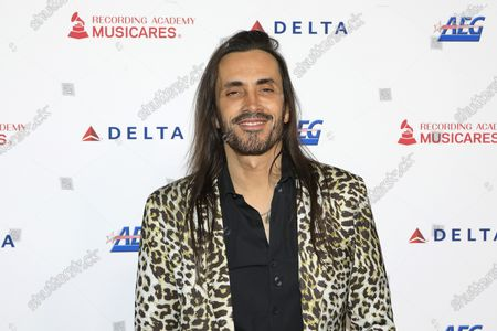 Nuno Bettencourt arrives for the 2020 MusiCares Person of The Year gala at the Convention Center in Los Angeles, California, USA 24 January 2020. MusiCares Person of the Year Tribute honored US rock band Aerosmith for their extraordinary creative accomplishments and significant philanthropic efforts over five decades.