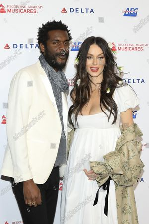 Gary Clark Jr. (L) and Australian model Nicole Trunfio (R) arrive for the 2020 MusiCares Person of The Year gala, at the Convention Center in Los Angeles, California, USA, 24 January 2020. MusiCares Person of the Year Tribute honored US rock band Aerosmith for their extraordinary creative accomplishments and significant philanthropic efforts over five decades.