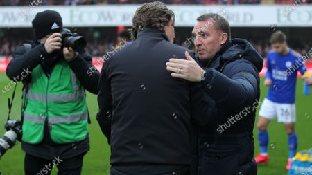 Leicester Manager, Brendan Rogers greets Brentford Head Coach, Thomas Frank ahead of kick-off during Brentford vs Leicester City, Emirates FA Cup Football at Griffin Park on 25th January 2020