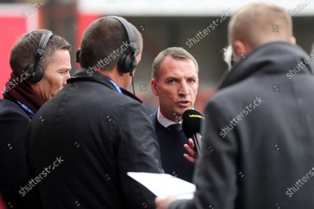 Leicester Manager, Brendan Rogers chats with TalkSport   ahead of kick-off during Brentford vs Leicester City, Emirates FA Cup Football at Griffin Park on 25th January 2020