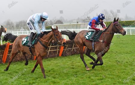 Stock Picture of (R) Paisley Park (Aidan Coleman) takes the last before going on to win The galliardhomes.com Cleeve Hurdle Race from (L) Summerville Boy (Jonathan Burke).