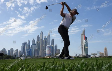 Stock Image of Robert Karlsson of Sweden in action during the third round of Omega Dubai Desert Classic 2020 Golf tournament at Emirates Golf Club in Dubai, United Arab Emirates, 25 January 2020.