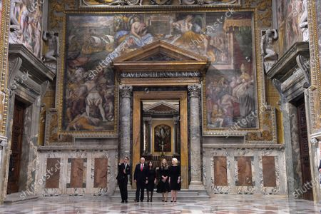 The Vice President of the United States of America Mike Pence, his wife Karen, his daughter-in-law Sarah and US Ambassador to the Holy See Callista Gingrich visit the Regia Hall after a private audience with Pope Francis.