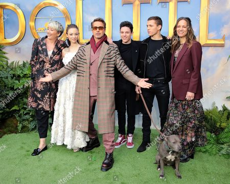 Emma Thompson, Carmel Laniado, Robert Downey Jr., Harry Collett, Tom Holland and Susan Downey