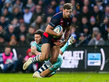 Henry Purdy of Bristol Bears is tackled by Matt Banahan of Gloucester Rugby