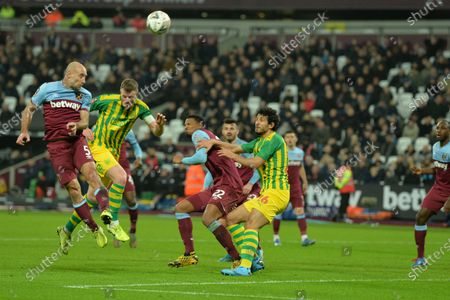 Pablo Zabaleta of West Ham United heads over during West Ham United vs West Bromwich Albion, Emirates FA Cup Football at The London Stadium on 25th January 2020