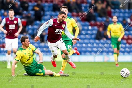 Burnley midfielder Aaron Lennon (25) fouled by the opponent during the The FA Cup match between Burnley and Norwich City at Turf Moor, Burnley