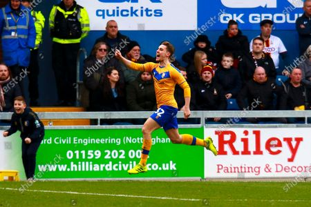 Stock Image of Danny Rose of Mansfield Town celebrates his goal