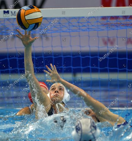 Estelle Millot (L) of France and Lenka Garancovska of Slovakia in action during women's European Water Polo Championship match of the France vs Slovakia for the seventh place in Budapest, Hungary, 25 January 2020.