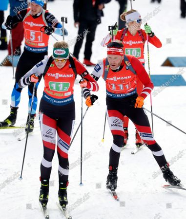 (L-R) Simon Eder of Austria and Lisa Theresa Hauser of Austria in action during the Single Mixed Relay competition of the Biathlon World Cup at Pokljuka Mount, Slovenia, 25 January 2020.
