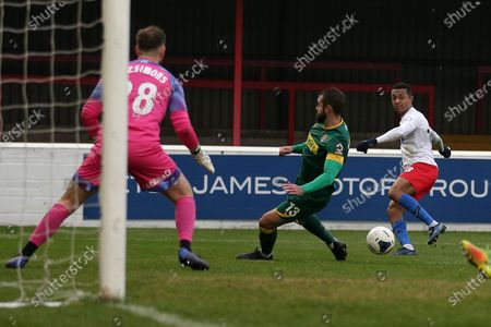 Alex Reid of Dagenham goes close during Dagenham & Redbridge vs Notts County, Vanarama National League Football at the Chigwell Construction Stadium on 25th January 2020