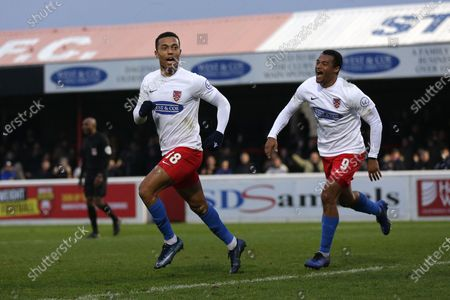 Alex Reid of Dagenham scores the first goal for his team and celebrates during Dagenham & Redbridge vs Notts County, Vanarama National League Football at the Chigwell Construction Stadium on 25th January 2020