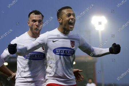 Alex Reid of Dagenham scores the second goal for his team and celebrates during Dagenham & Redbridge vs Notts County, Vanarama National League Football at the Chigwell Construction Stadium on 25th January 2020
