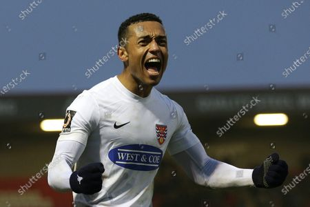 Stock Photo of Alex Reid of Dagenham scores the second goal for his team and celebrates during Dagenham & Redbridge vs Notts County, Vanarama National League Football at the Chigwell Construction Stadium on 25th January 2020