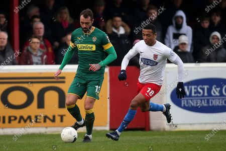Connell Rawlinson of Notts County and Alex Reid of Dagenham during Dagenham & Redbridge vs Notts County, Vanarama National League Football at the Chigwell Construction Stadium on 25th January 2020