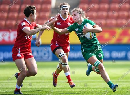 Ireland Women vs Canada Women. Ireland's Kathy Baker in action against Canada
