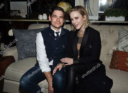 """Jason Ralph, Rachel Brosnahan. IMAGE DISTRIBUTED FOR CHASE SAPPHIRE - Actor Rachel Brosnahan, right, with husband Jason Ralph at the """"Ironbark"""" cast party at Chase Sapphire on Main at Sundance Film Festival 2020 on in Park City, Utah"""