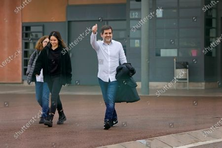 Former president of Catalan pro-independence group ANC Jordi Sanchez (R) reacts as he leaves the Lledoners prison accompanied by his family in Sant Joan de Vilatorrada, Barcelona, Catalonia, northeastern Spain, 25 January 2020. Sanchez left the prison for his first furlough of 48 hours, after being imprisoned for 830 days following the Spanish Supreme Court sentence of 9 years and half for sedition and rebellion for his role in the Catalan illegal independence referendum back in 2017.