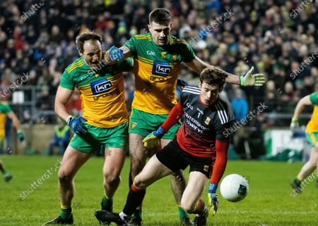 Donegal vs Mayo. Donegal's Caolan McGonagle and Michael Murphy with Mayo's David Clarke