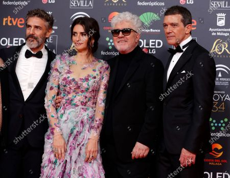 Leonardo Sbaraglia, Spanish actress Penelope Cruz, Spanish filmmaker Pedro Almodovar and Spanish actor Antonio Banderas attend the 34th annual Goya Awards ceremony at the Jose Maria Martin Carpena Sports Palace in Malaga, Spain, 25 January 2020. The a?wards are presented by the Spanish Academy of Motion Picture Arts and Sciences.