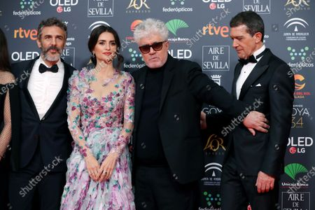 Leonardo Sbaraglia, Spanish actress Penelope Cruz, Spanish filmmaker Pedro Almodovar and Spanish actor Antonio Banderas attend the 34th annual Goya Awards ceremony at the Jose Maria Martin Carpena Sports Palace in Malaga, Spain, 25 January 2020. The awards are presented by the Spanish Academy of Motion Picture Arts and Sciences.