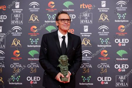 Alberto Iglesias wins the Best Original Music award for his work on 'Dolor y Gloria' (Pain and Glory) during the 34th Goya Awards ceremony held at the Jose Maria Martin Carpena Sports Palace in Malaga, Spain, 25 January 2020. The awards are presented by the Spanish Film Academy.