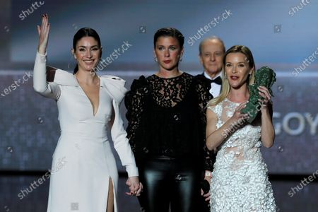 The daughters of Pepa Flores 'Marisol',  Celia Flores, Tamara Gades and Maria Esteve, receive the 'Goya of honor' on behalf of their mother during the 34th Goya Awards ceremony held at the Jose Maria Martin Carpena Sports Palace in Malaga, southern Spain, 25 January 2020. The awards are presented by the Spanish Film Academy.