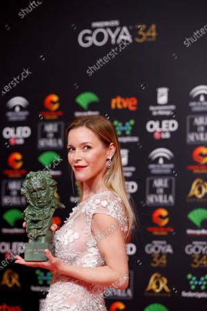 The daughter of Pepa Flores 'Marisol' Maria Esteve, with the 'Goya of honor' on behalf of her mother, during the 34th Goya Awards ceremony held at the Jose Maria Martin Carpena Sports Palace in Malaga, southern Spain, 25 January 2020. The awards are presented by the Spanish Film Academy.