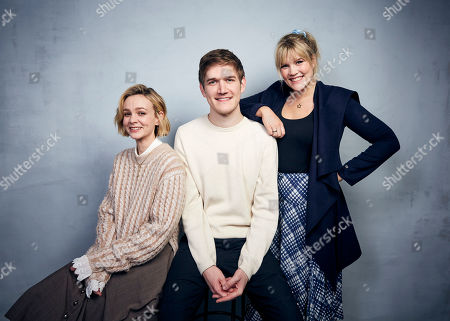 """Carey Mulligan, Bo Burnham, Emerald Fennell. Carey Mulligan, from left, Bo Burnham and writer/director Emerald Fennell pose for a portrait to promote the film """"Promising Young Woman"""" at the Music Lodge during the Sundance Film Festival, in Park City, Utah"""