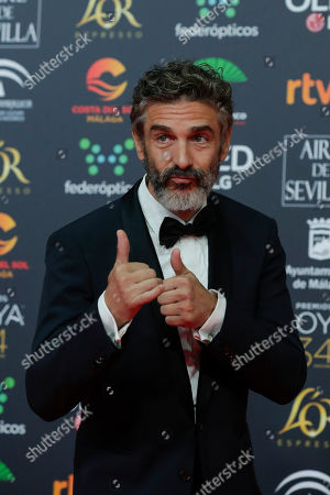 Stock Image of Argentinian actor Leonardo Sbaraglia poses for photographers at the red carpet ahead the Goya Film Awards Ceremony in Malaga, southern Spain, . The annual Goya Awards are Spain's main national film awards