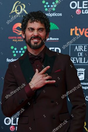 Spanish actor Paco Leon poses for photographers at the red carpet ahead the Goya Film Awards Ceremony in Malaga, southern Spain, . The annual Goya Awards are Spain's main national film awards