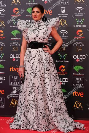 Stock Photo of Spanish actress Lucia Jimenez poses for photographers at the red carpet ahead the Goya Film Awards Ceremony in Malaga, southern Spain,. The annual Goya Awards are Spain's main national film awards