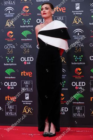 Spanish actress Marta Nieto poses for photographers at the red carpet ahead the Goya Film Awards Ceremony in Malaga, southern Spain,. The annual Goya Awards are Spain's main national film awards
