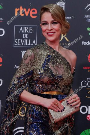 Spanish actress Silvia Abascal poses for photographers at the red carpet ahead the Goya Film Awards Ceremony in Malaga, southern Spain,. The annual Goya Awards are Spain's main national film awards