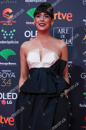 Spanish actress Belen Cuesta poses for photographers at the red carpet ahead the Goya Film Awards Ceremony in Malaga, southern Spain,. The annual Goya Awards are Spain's main national film awards