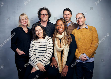 Stock Photo of Shannon Dill, Davis Guggenheim, Jonathan King, Nicole Stott, Rahdi Taylor, Jonathan Silberberg. Shannon Dill, from top left, Davis Guggenheim, Jonathan King, and Nicole Stott, from bottom left, Rahdi Taylor, and Jonathan Silberberg pose for a portrait to promote Concordia Studio at the Music Lodge during the Sundance Film Festival, in Park City, Utah