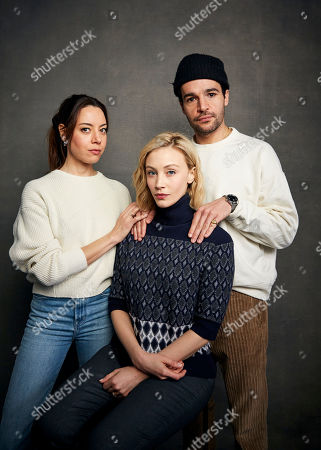 "Aubrey Plaza, Sarah Gadon, Christopher Abbott. Aubrey Plaza, from left, Sarah Gadon and Christopher Abbott pose for a portrait to promote the film ""Black Bear"" at the Music Lodge during the Sundance Film Festival, in Park City, Utah"