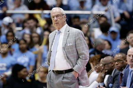 Stock Photo of North Carolina head coach Roy Williams looks on during the first half of an NCAA college basketball game against Miami in Chapel Hill, N.C