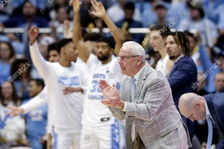 North Carolina head coach Roy Williams reacts during the second half of an NCAA college basketball game against Miami in Chapel Hill, N.C