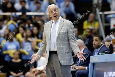 Stock Image of North Carolina head coach Roy Williams reacts during the second half of an NCAA college basketball game against Miami in Chapel Hill, N.C