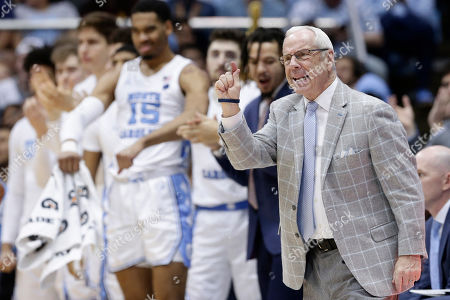 Stock Picture of North Carolina head coach Roy Williams reacts during the second half of an NCAA college basketball game against Miami in Chapel Hill, N.C
