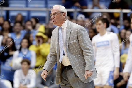 North Carolina head coach Roy Williams reacts during the first half of an NCAA college basketball game against Miami in Chapel Hill, N.C