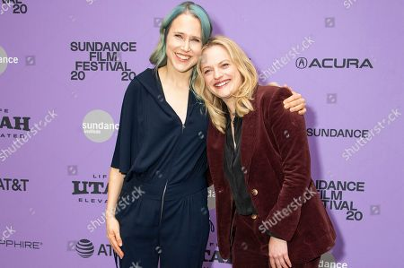 "Josephine Decker, Elisabeth Moss. Director Josephine Decker, left and actress/producer Elisabeth Moss attend the premiere of ""Shirley"" at the Eccles Theatre during the 2020 Sundance Film Festival, in Park City, Utah"